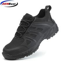 DEWBest Lưới Thoáng Khí Giày Nam Đèn Giày Sneaker Không Thể Phá Hủy Thép Ngón Chân Mềm Mại Chống đâm xuyên Làm Giày