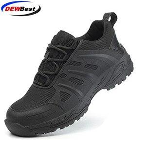 Image 1 - DEWBest дышащая сетчатая защитная обувь мужские легкие кроссовки небьющиеся стальные носочки мягкие Нескользящие рабочие ботинки