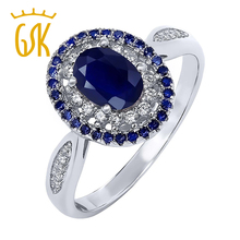 GemStoneKing 1.60 Ct Anillo Óvalo Azul Zafiro Natural Anillos de Plata de Ley 925 Mujeres de La Vendimia