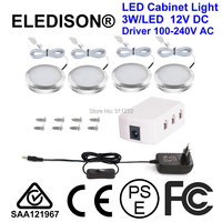 Closet Cabinet LED Light 3W/LED Total 4 Pack Kitchen Bulb with US EU Plug Power Supply On Off Switch and Installation Screws