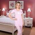 2016 Pink Ladies Pijamas De Algodão Espuma De Impressão Mulheres de Manga Curta Sleepwear Ocasional Femme Homewear Pijamas Set Frete grátis