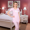 2016 Pink Ladies ropa de Dormir de Algodón de Espuma de Impresión de Manga Corta de Las Mujeres ropa de Noche Ocasional Femme Homewear Pijamas Set Envío gratis