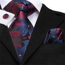 SN-3125 Hi-Tie 8,5 см Шелковый мужской галстук Цветочные Красные голубые галстуки для мужчин Классические Вечерние Свадебный кармашек Квадратные запонки роскошный набор галстуков