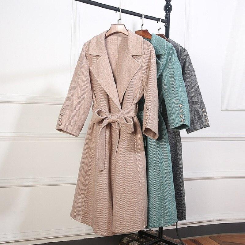 100% шерсть кашемировое пальто и верхняя одежда 2018 теплые зимние Для женщин Double Face Шерстяные Пиджаки Плюс Размеры Верхняя одежда серый зелены