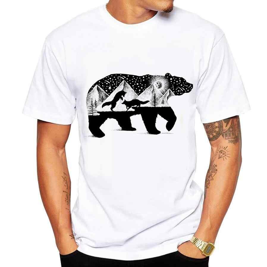 男性のtシャツ面白いプリントクマとキツネtシャツ男性ブランド夏ラウンドネック白い綿半袖ティーシャツオム