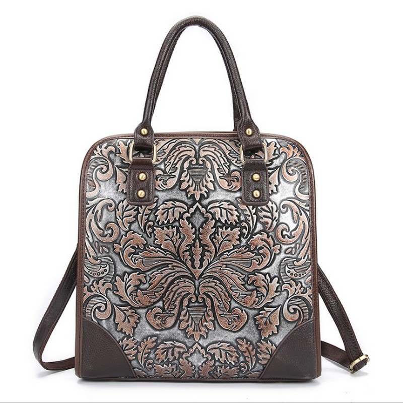 Famous Brand Ladies Handbags Genuine Leather Women&men Bag Casual Tote Floral Print Shoulder Bags 2017 Sac New Luxury Large Tote