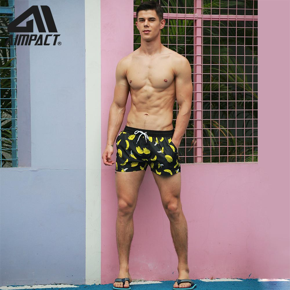 Board Shorts for Men Banana Printing Sexy Swim Trunks 1
