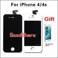 Con vidrio templado de calidad aaa para el iphone 4s/4 pantalla lcd con reemplazo digitalizador asamblea negro/blanco envío gratis