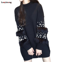 Faux Fur Pearl Beads Sweater Long Sleeve Jumpers Women's Turtleneck Pull Casual Pullovers Lady's Sweater Coat Oversized Tops