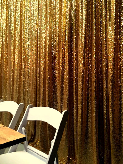 8FT*8FT Gold Champagne Shimmer Sequin Fabric Backdrop Sequin Curtains Wedding Photo Booth Photography Backdrops for Party Decor