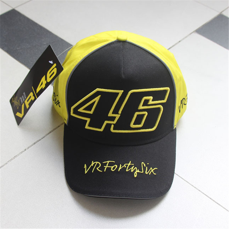 Newest Moto Gp 46 Cap Edition Bone Racing Motorcycle Race Caps Men Baseball Cap VR46 Cotton Sun Black Yellow Color Hats moto gp baseball cap 69 race nicky hayden same paragraph snapback hats moto bone motorcycle outdoor sports cap men gorra racing
