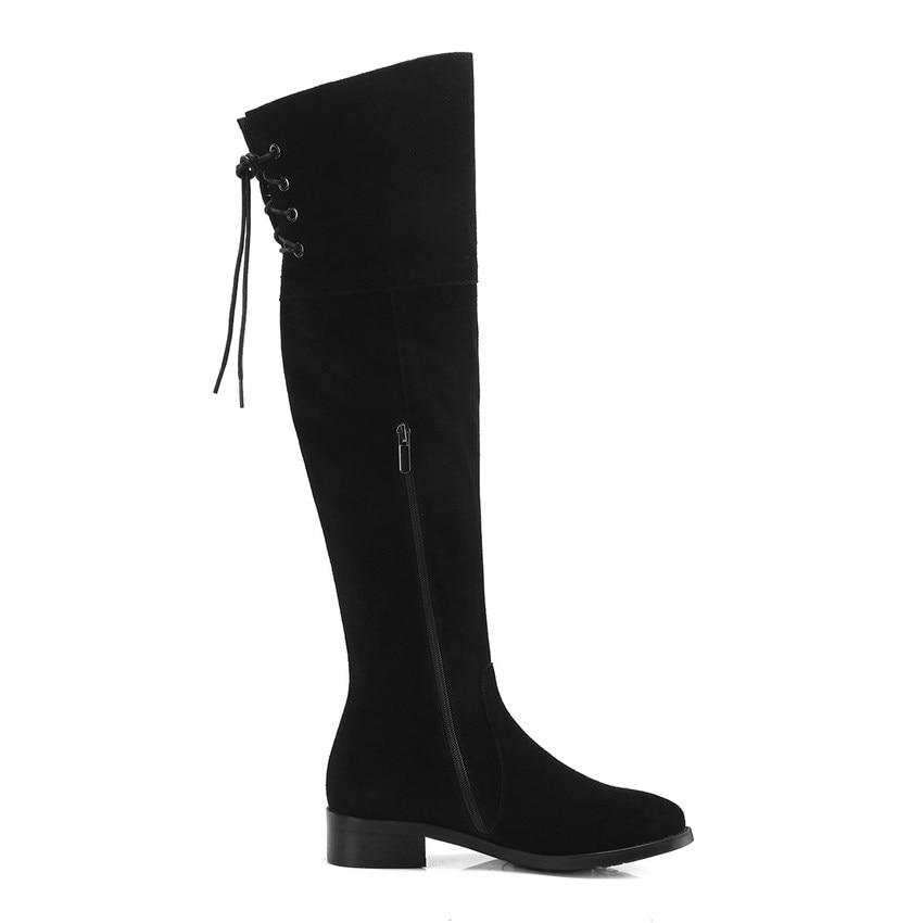 Grande Tous En Carré 34 40 Vache 2019 Qutaa Hiver Femmes forme Taille Les Chaussures Daim Bottes Noir Genou Talon Haute Plate Match PXCUq4w