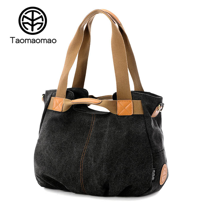 Taomaomao New Women Canvas Bag Casual Crossbody Canvas Bag Women Handbags Large Capacity Sling Shoulder Bags Sac A Main WH568 недорого