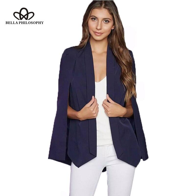Bella Philosophy 2018 blazer women outwears spring wine red navy blue white black new women's shawl blazer cape jacket