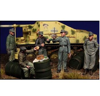 Escala 1/35 WW2 alemão de corpo grupo de cinco pessoas histórico figura resina modelo Kit frete grátis