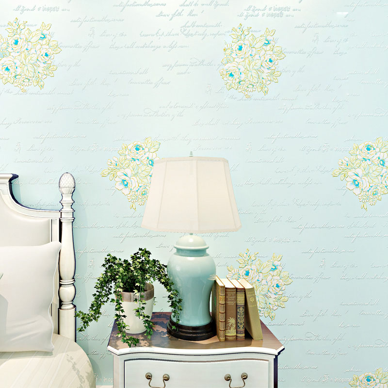 American Rustic Floral Wall Papers Home Decor Blue Beige Letters 3D Wallpapers Roll for Living Room Bedding Room papier peint stylish diy purple mangnolia and letters pattern wall stickers for home decor