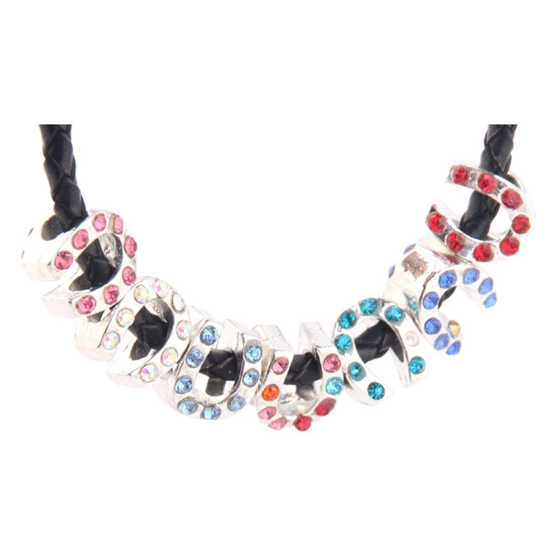 5PCs European Charm Beads Rhinestone Horseshoe 11mm x 9mm