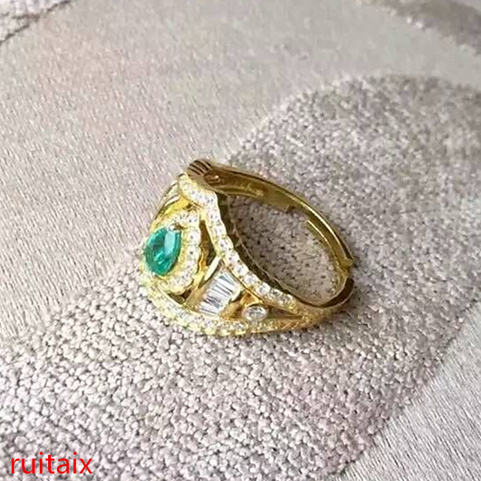 KJJEAXCMY fine jewelry 925 Pure silver inlay natural emeralds female gold inlay diamond crown ring mkjnKJJEAXCMY fine jewelry 925 Pure silver inlay natural emeralds female gold inlay diamond crown ring mkjn