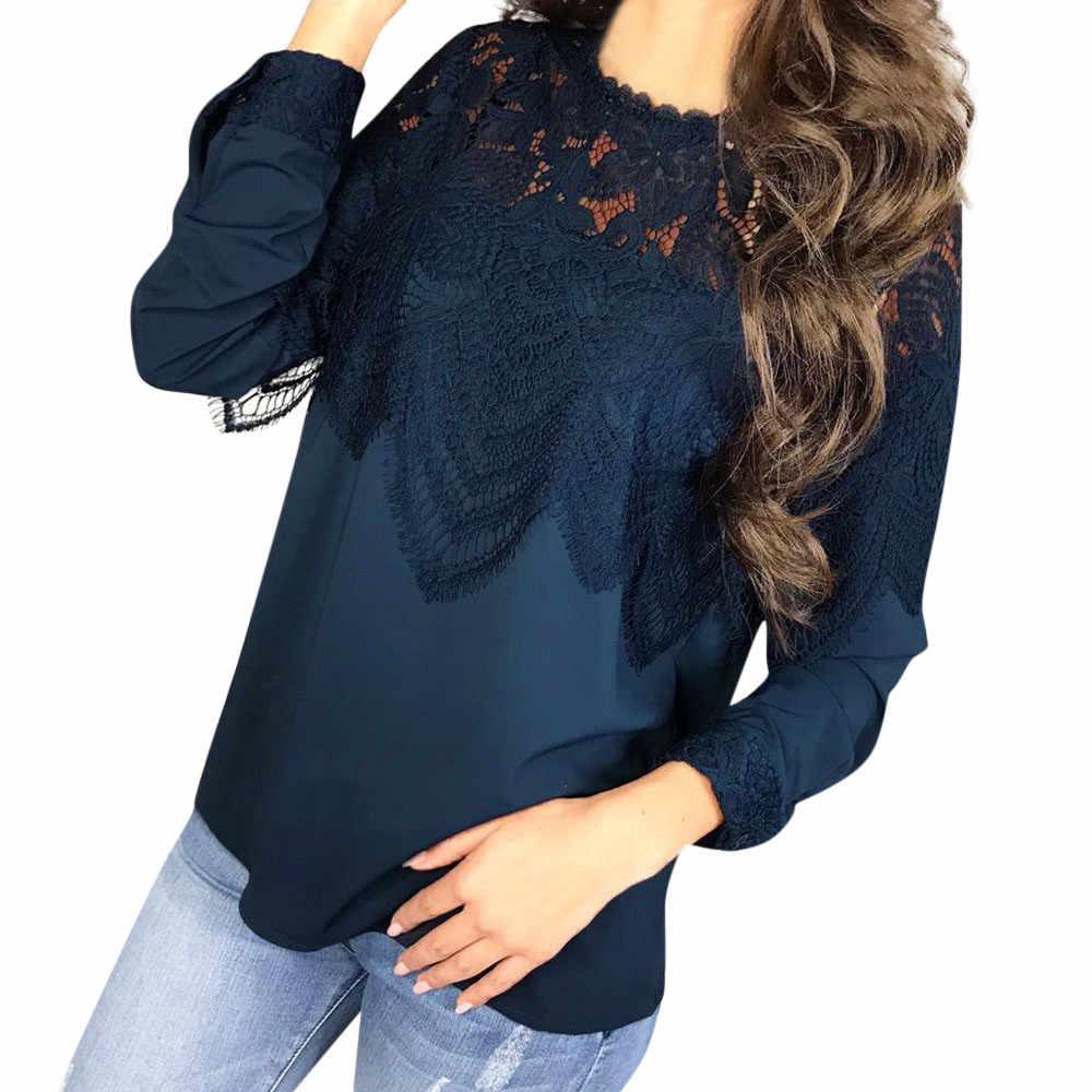 5726a659e72 Офисные женские туфли рубашка Для женщин Лоскутная святить из кружевная  блузка Вырез капелькой с круглым вырезом