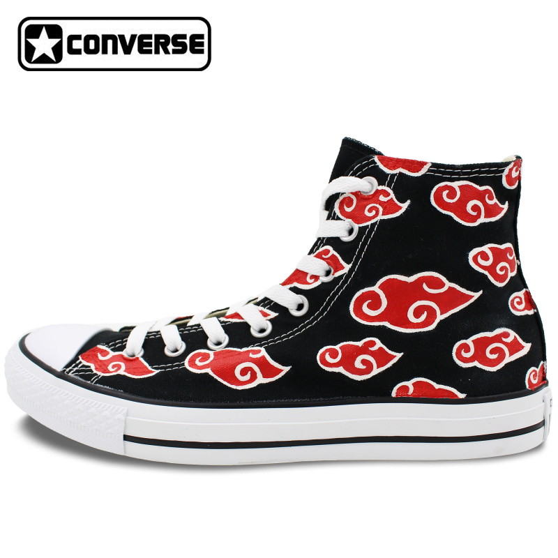 Prix pour Nuage rouge Hommes Femmes Chaussures Sneakers All Star Converse Anime Naruto Shippuden Akatsuki Design Peint À La Main Chaussures Sneakers Cosplay