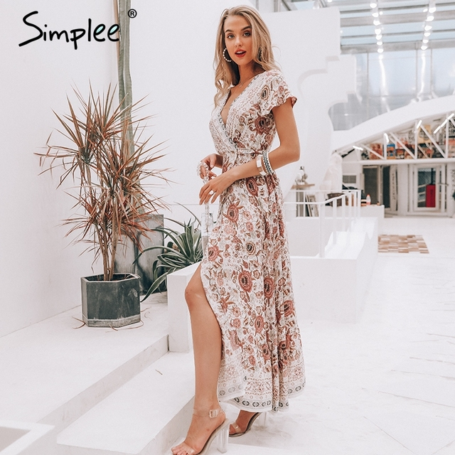 Simplee Vintage floral print summer dress Ruffle split sash sexy long dress Bohemian women dress holiday beach dress vestidos