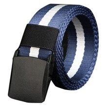 Popular Men's Belt No metal Plastic buckle canvas belts casual jeans belt HQ