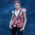Beautiful Vest 2016 Autumn Fashion Flowers Print Top Grade Ladies Noble Famous Star Style Street Innovative Incity Vest