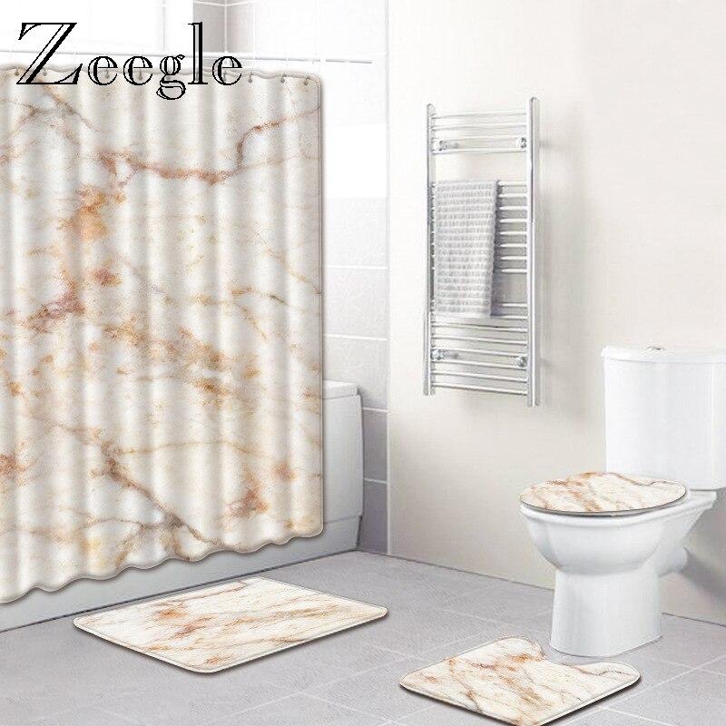 Zeegle tapis de salle de bain motif marbre tapis sur pied antidérapant couvercle couverture de toilette tapis de bain avec rideau de douche Set tapis de pied