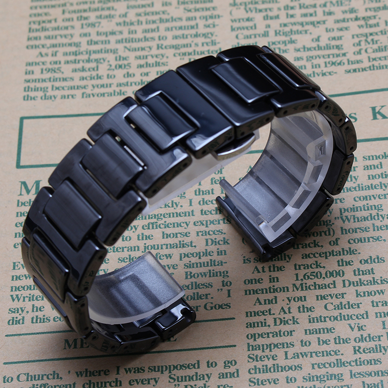 Watchbands strap replacing For Samsung Gear S2/S3 smart wristband Black ceramic watchband 14mm 18mm 20mm 22mm polished bracelet