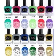 BORN PRETTY  1Bottle 15ml Sweet Candy Color Nail Stamping Polish 12 Colors Manicure Nail Art Plate Printing Polish
