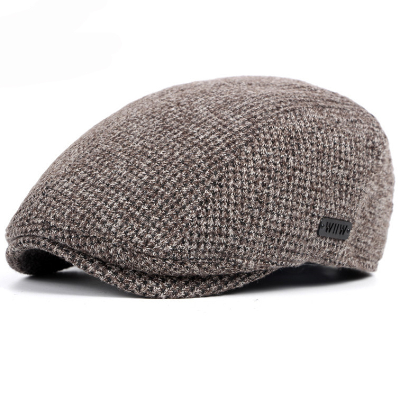 HT1327 Black Beige Coffee Grey Cabbie Gastby Flat Ivy Cap Warm Knitted Autumn Winter Mens Hats British Western Style Beret Caps