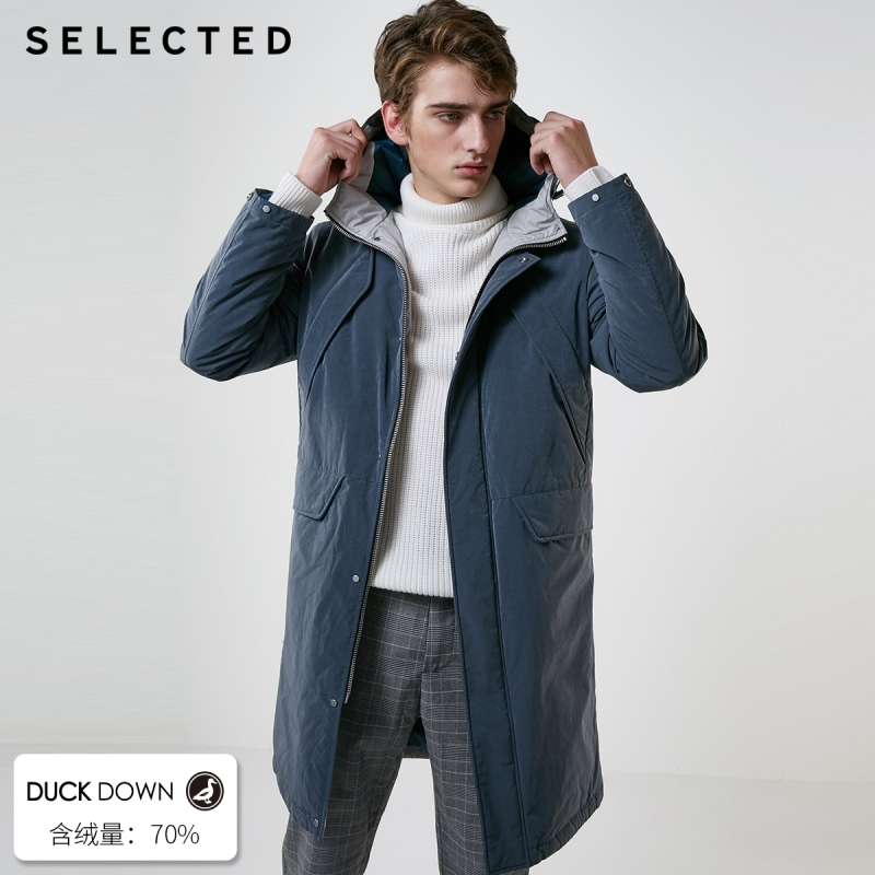 SELECTED Winter Long Down Jacket New Male Duck Down Coat with Cap Warm Clothes S  418412576-in Down Jackets from Men's Clothing    1