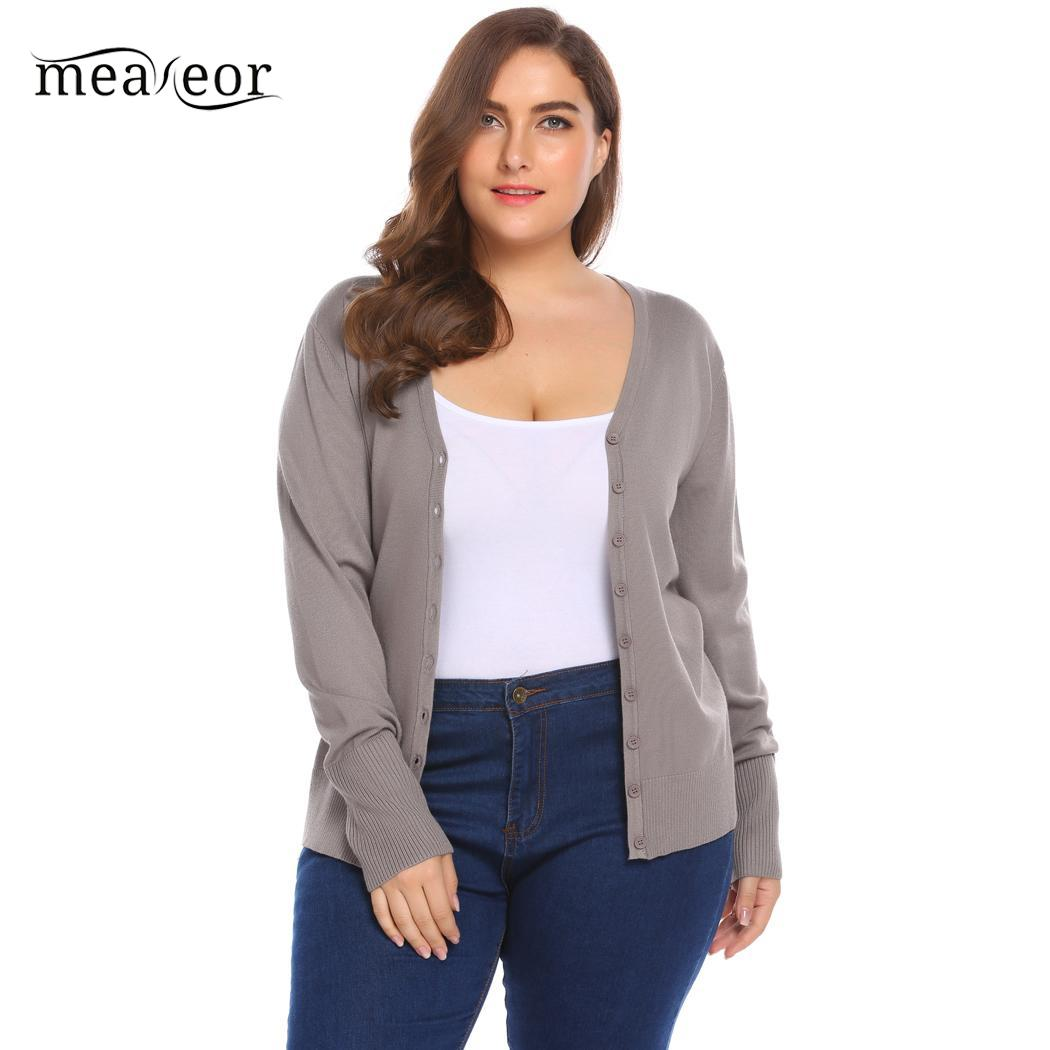 70819ec219 Meaneor Down V Neck Long Sleeve Button Women s Sweater Basic Slim Cardigan  Sweater Plus Size Loose Knitting Cardigan Sweater-in Cardigans from Women s  ...