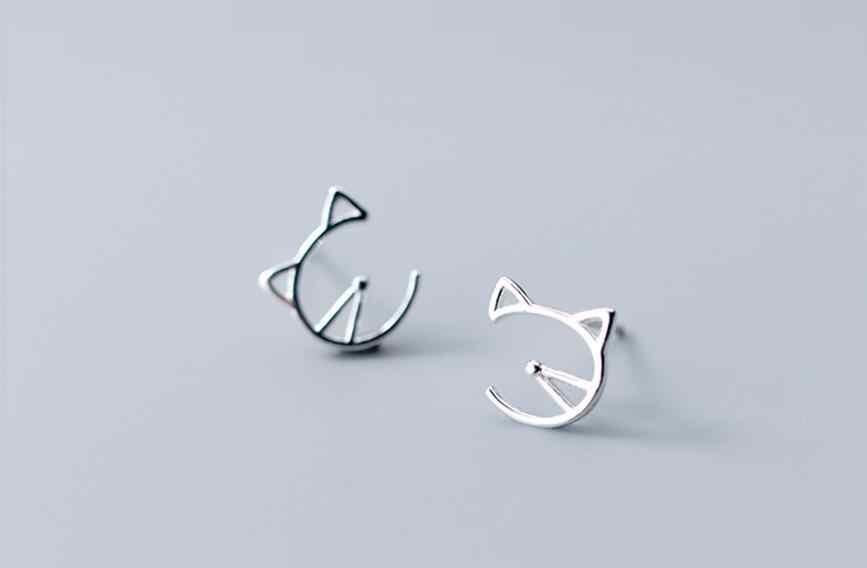 Hipoalergênico Cut Cat Brinco Do Parafuso Prisioneiro para As Mulheres 925 Brinco de Prata Sterling-Prata-Jóias Pendientes Mujer EH821