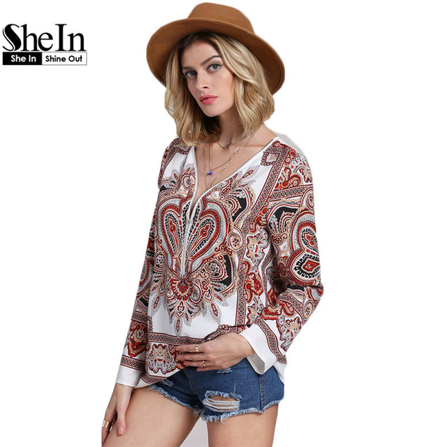 SheIn Multicolor Long Sleeve V Neck Retro Print Shirt Casual Tops For Women Vintage Style Loose Blouse