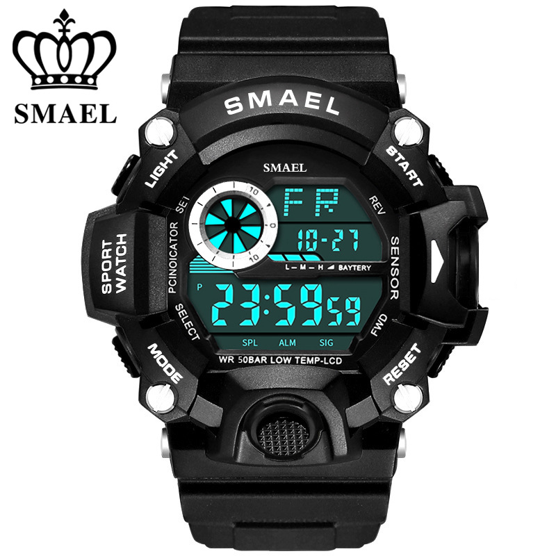 SMAEL Brand Outdoor Sport Watch Men 50m Waterproof Digital Quartz Sports Military Watches Climbing Swim Clock Men reloj hombre