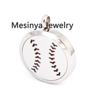 10pcs mesinya plain baseball (30mm) Aromatherapy / Essential Oil surgical Stainless Steel Perfume Diffuser Locket Necklace