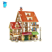 StZhou 3D Wood Puzzle DIY Model Kids Toy France French Style Coffee House Puzzle Puzzle 3d