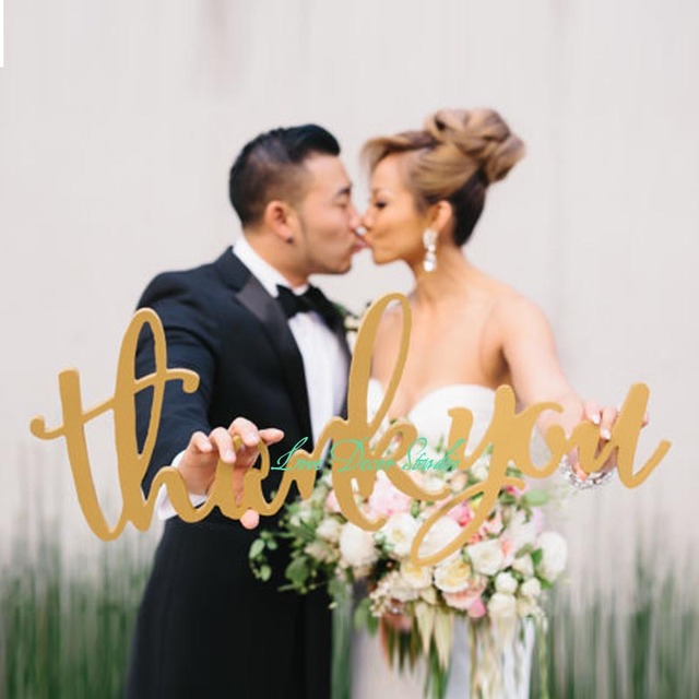 Aliexpress Buy Free shipping Gold Thank You Sign – Buy Wedding Thank You Cards