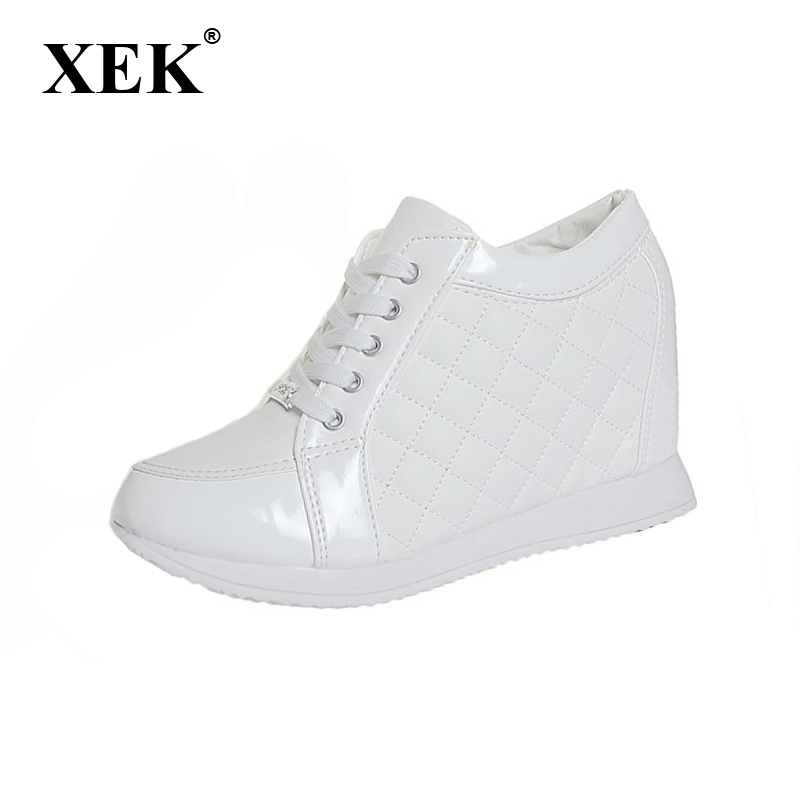 2017 Women shoes Black White fashion Height Increasing Wedge Heels Casual elevator shoes Spring Summer Women's shoes цены онлайн