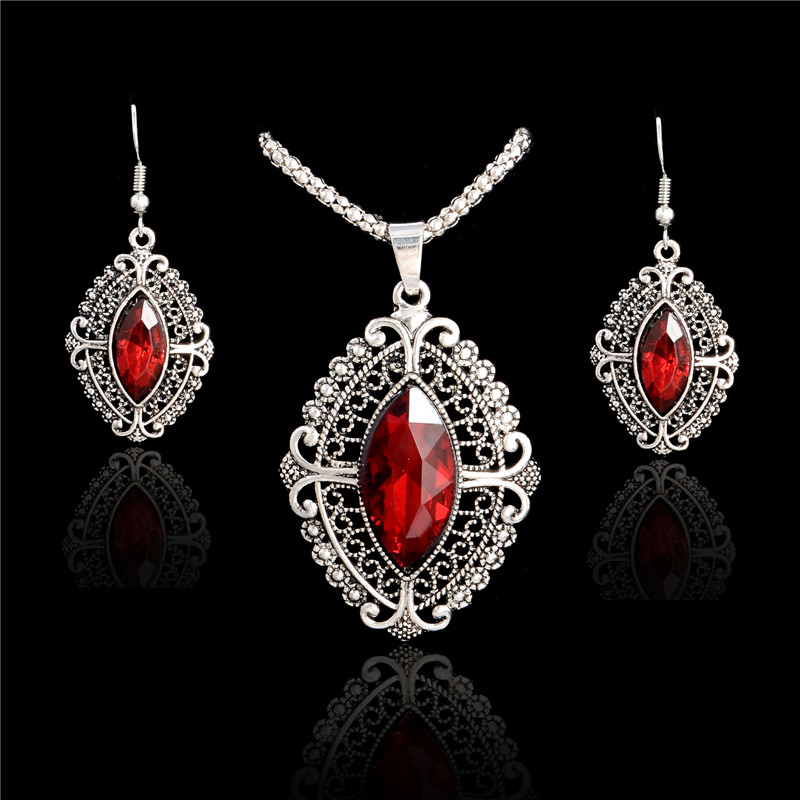 SHUANGR 2016 Fashion Blue/Red Crystal Jewelry Sets Luxury Vintage Party CZ Necklace&Earrings Fine Jewelry Colar Feminino