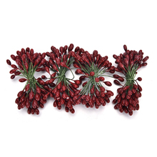 100 head Double heads Mini Fake Fruit glass Berries Artificial pomegranate red cherry Bouquet Stamen Christmas Decorative