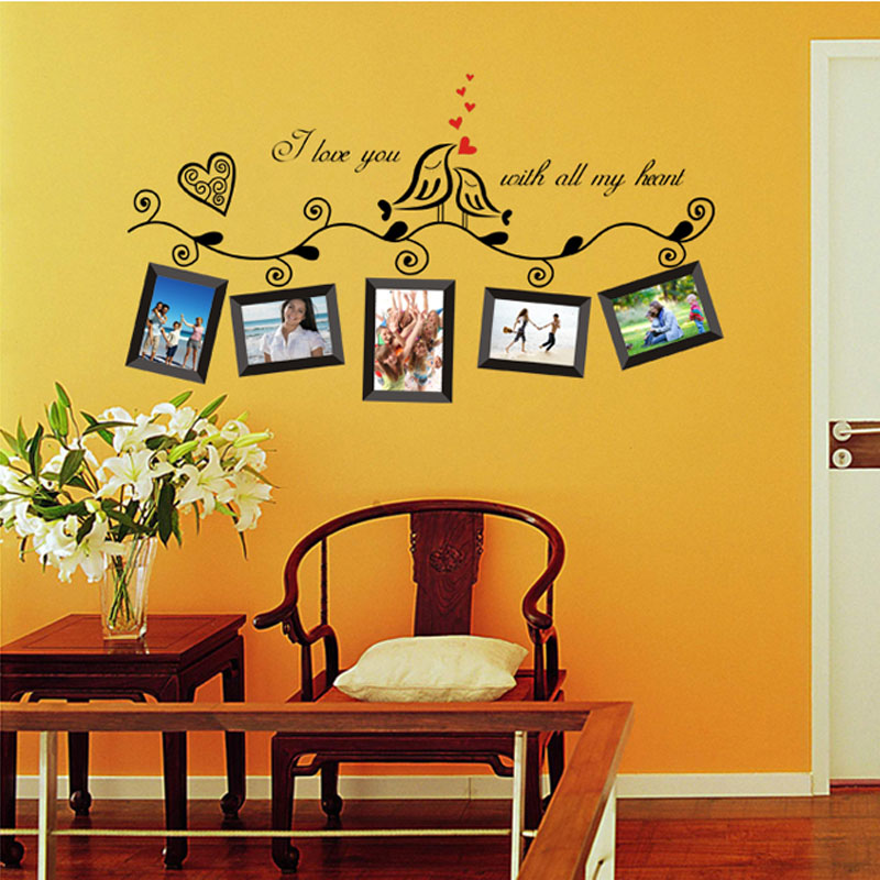 New Style Fashion Love Birds Photo Frame Art Wall Stickers Decal ...