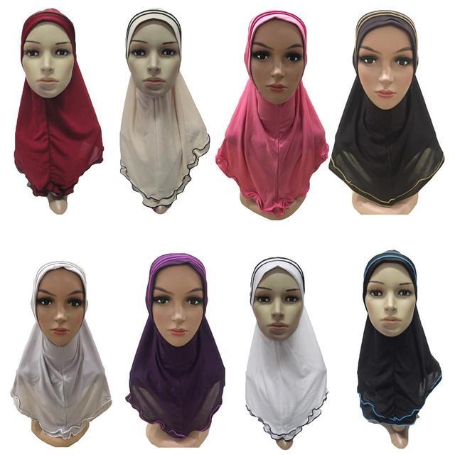 มุสลิมผู้หญิง Amira Frill ผ้าพันคอ Hijab ห่อหัวเต็มรูปแบบหมวกผ้าคลุมไหล่อิสลามอาหรับคอสวดมนต์หมวก Turban headscarf ใหม่