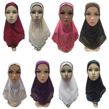 Muzułmanki dziewczyna Amira Frill szalik hidżab Wrap pokrowiec na główkę czapka z daszkiem szal islamska arabska osłona na szyję modlitwa kapelusz Turban chustka na głowę nowość