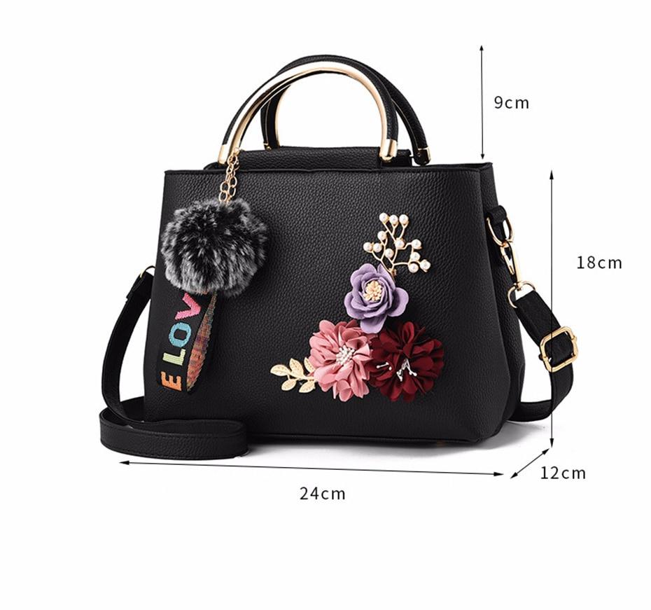Female Shoulder Bags For Women 2018 Flower Women S Handbags Youth Lady Tote  Fashion Handbags With Pompom Crossbody Bags Hot Sale 536e50da13473
