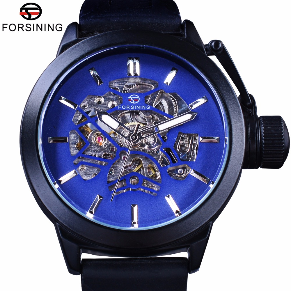Forsining Blue Skeleton Dial Rubber Band Mens Sport Mechanicl Safe Crown Mens Watch Top Brand Luxury Black Automatic Wrist Watch купить недорого в Москве