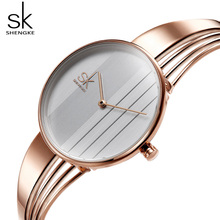 Shengke Fashion Women Watches Rose Gold Ladies Bracelet Reloj Mujer 2019 New SK Creative Quartz For #K0062