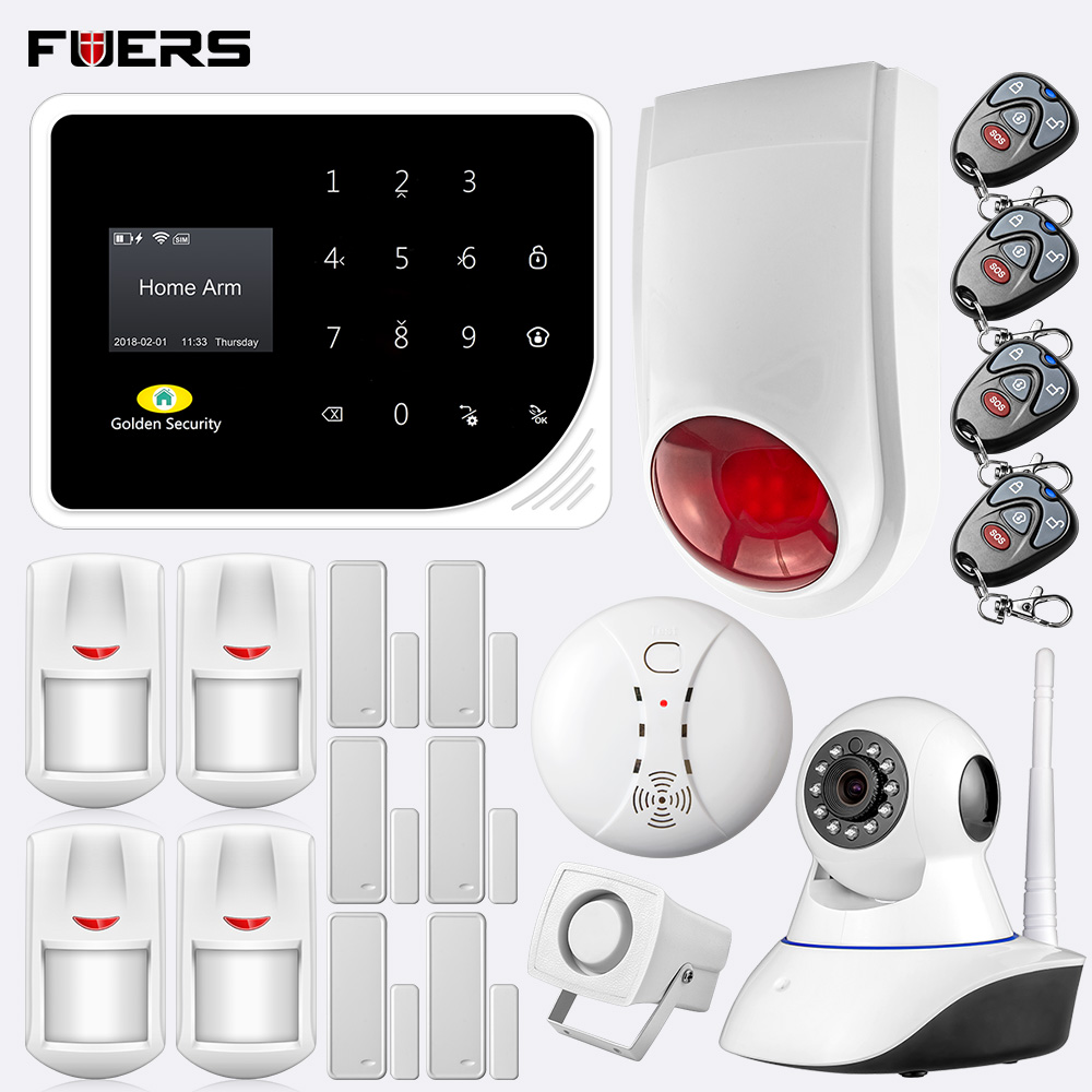 FUERS 2.4G WIFi GSM S5 Home Secuity Alarm System PIR Motion Sensor 720P HD IP Camera App Control Can Store 5 Alarm Phone Numbers