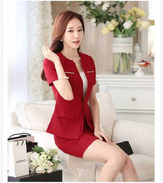 Large Size M-3XL 2016 Summer New Women Business Skirt Suits Formal Short Sleeve Blazers+Above Knee Pencil Skirts A3383